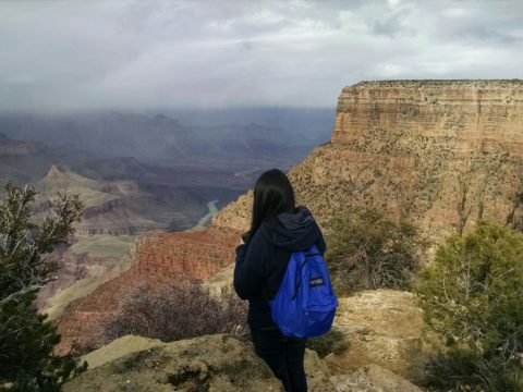 A girl with a blue backpack overlooks the Grand Canyon